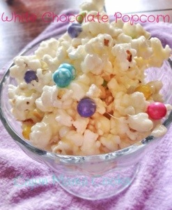 White chocolate popcorn and doing what we can