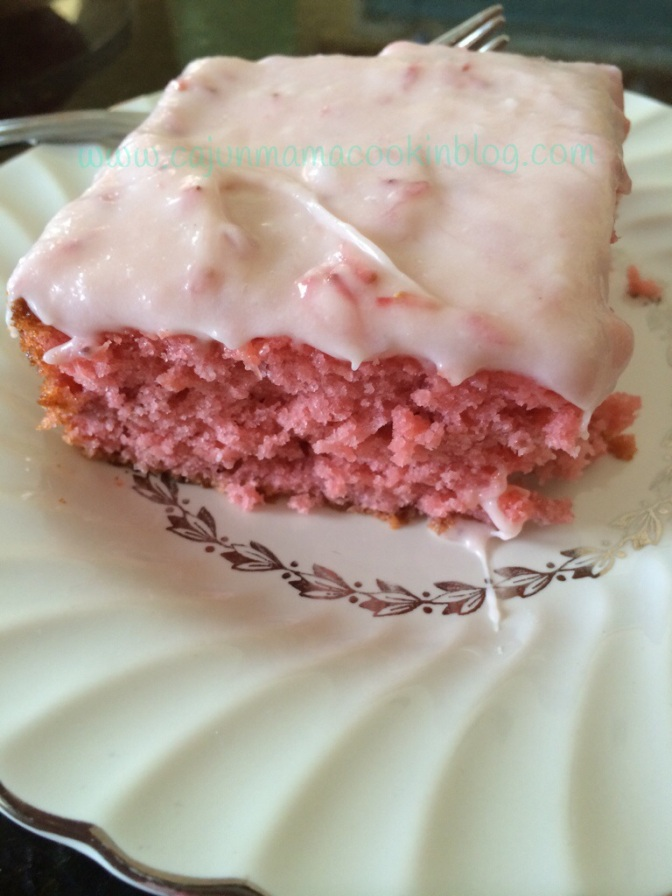 Fresh strawberry cake with cream cheese icing and people can change