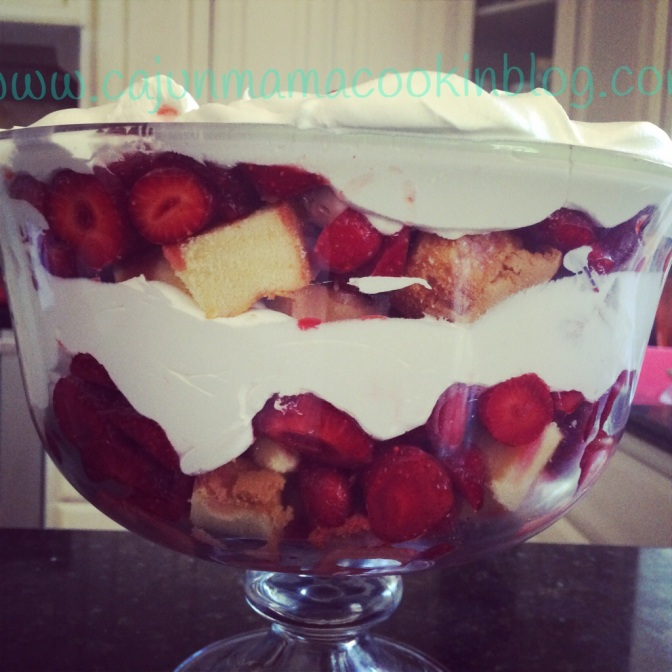 Easy strawberry shortcake trifle and keeping it simple