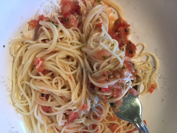 Pasta with fresh tomato sauce and a glorious spring day