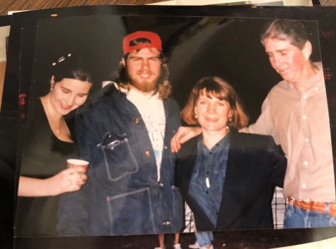 A bunch of Cajuns at a pre-boucherie party (me, big daddy, my mama and daddy circa 1997)